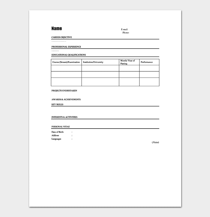 Fillable Fresher Resume Template