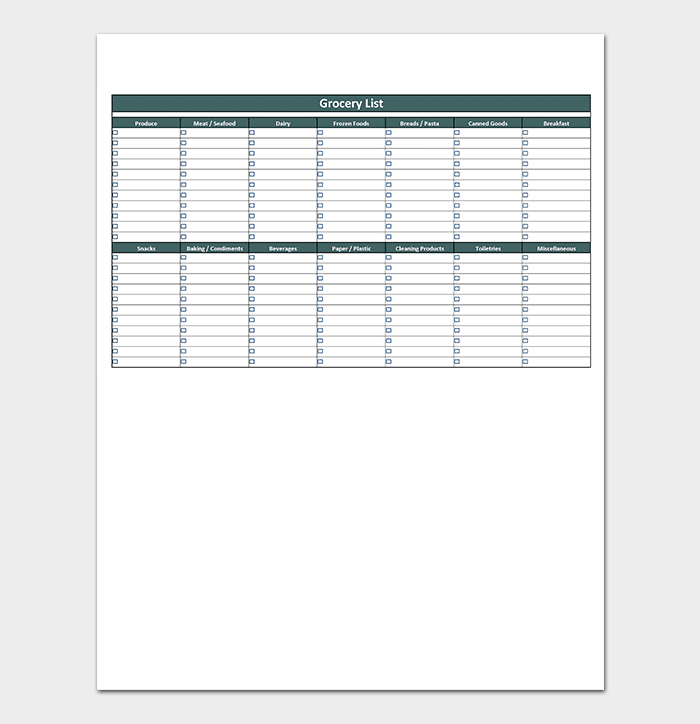 Fillable Shopping List Template