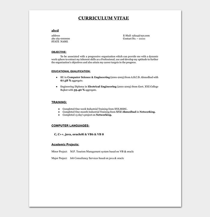 Freshers Resume Sample PDF