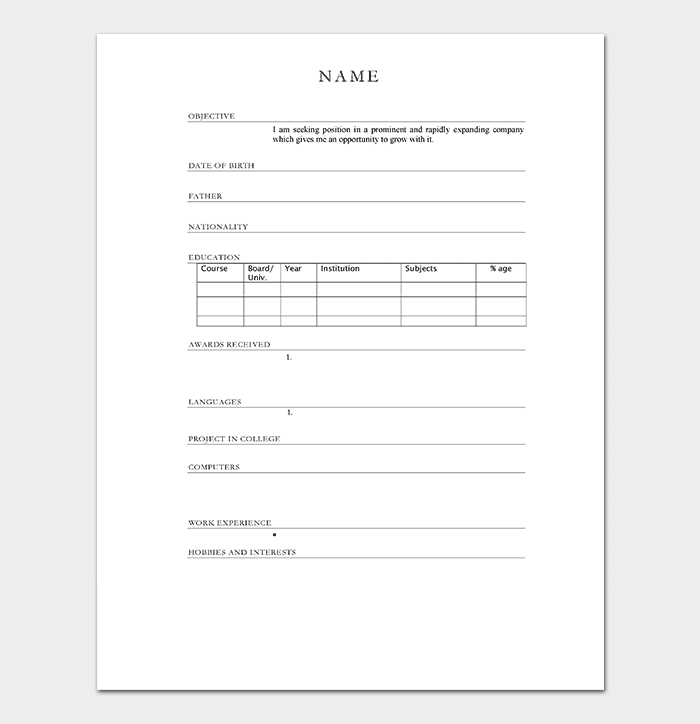 Resume Template For Freshers 18 Samples In Word Pdf Foramt