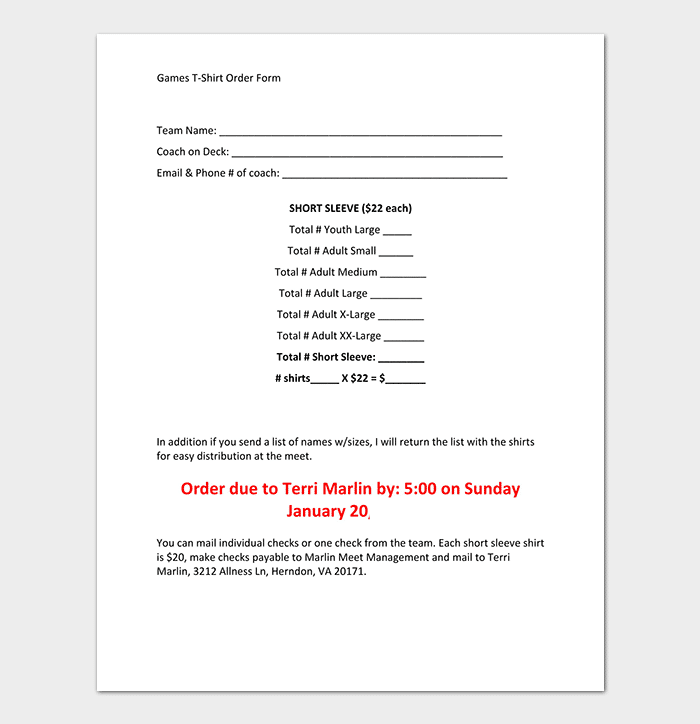 Games T Shirt Order Form Template