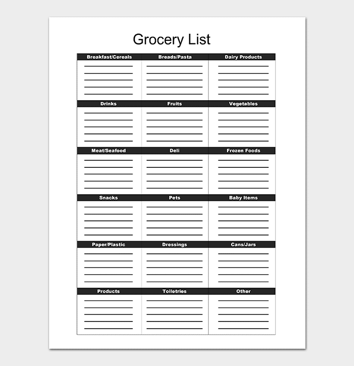Grocery Checklist Template DOC  Grocery Checklist Template