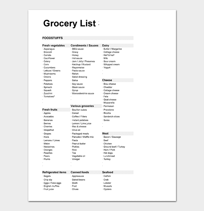Grocery List Spreadsheet Excel Format