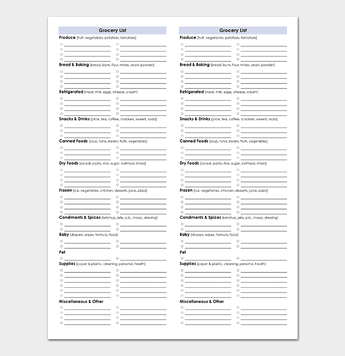 Grocery List Template Spreadsheet