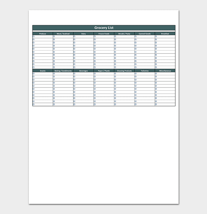 Grocery List in Excel