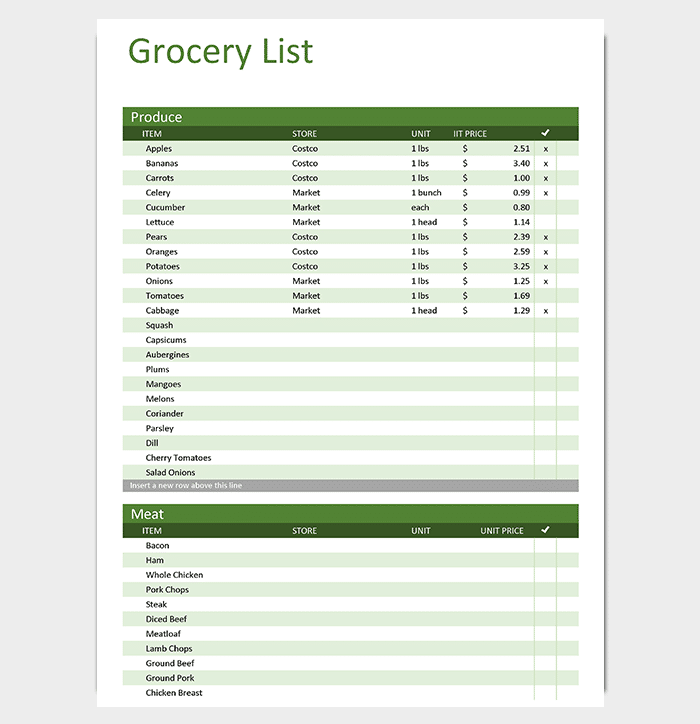 Grocery Shopping List Excel