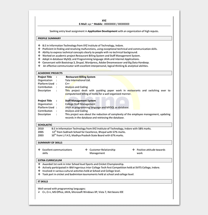 Editable resume for freshers