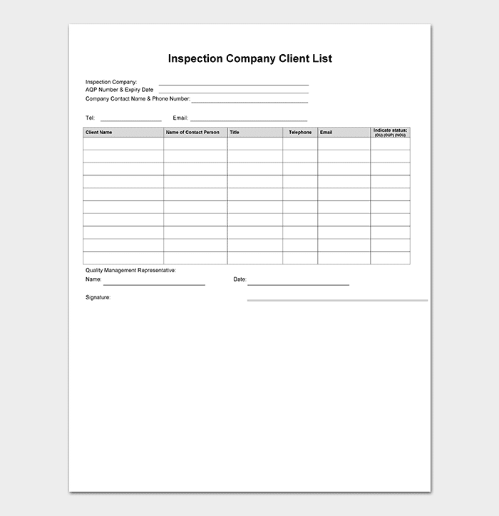 Beautiful Inspection Company Client List Template