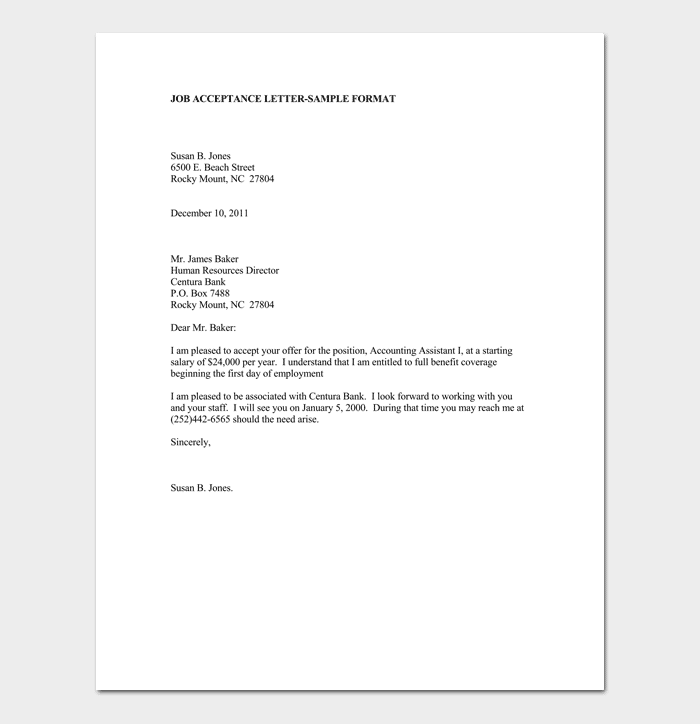 employment offer letter how to accept offer acceptance letter amp email sample 21500 | Job Acceptance Letter Example