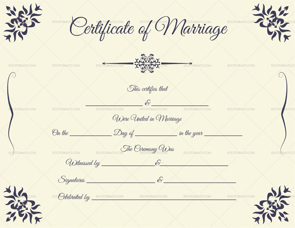 Marriage certificate format editable designs in word doc pdf marriage certificate format dark blue download now yadclub Image collections