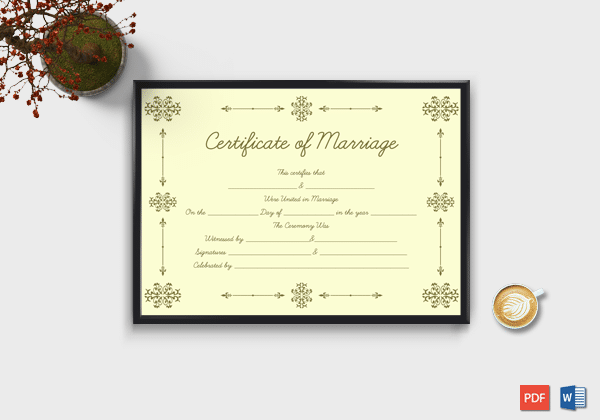 Marriage certificate format editable designs in word doc pdf printable marriage certificate format light gold yelopaper Images