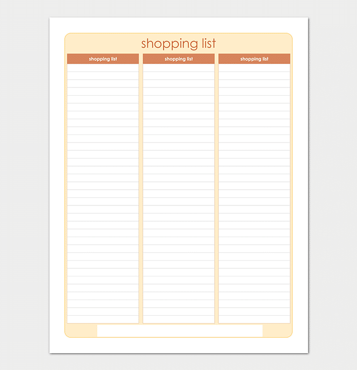 Printable Shopping List Template