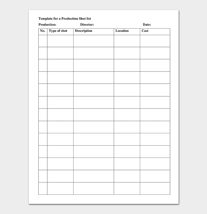 Production Shot List Template