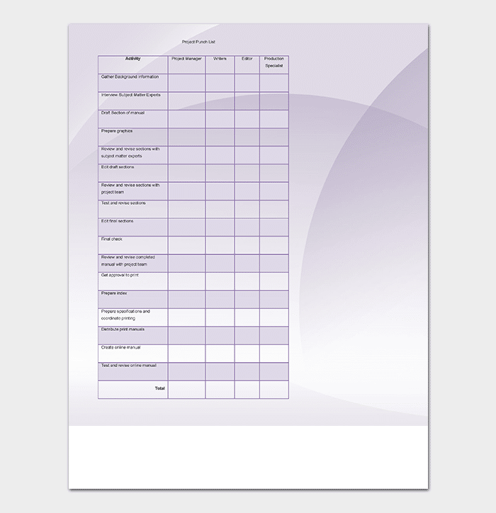 Punch list template 14 word excel pdf format for Construction punch list form
