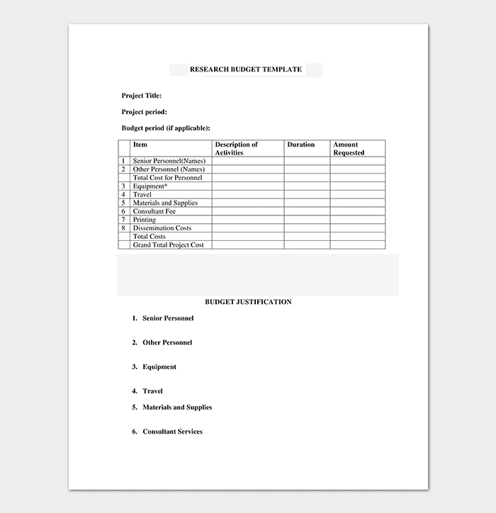 Research Budget Template in PDF