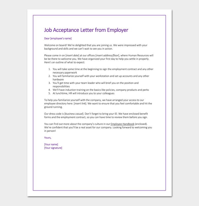 Sample Job Acceptance Letter from Employer