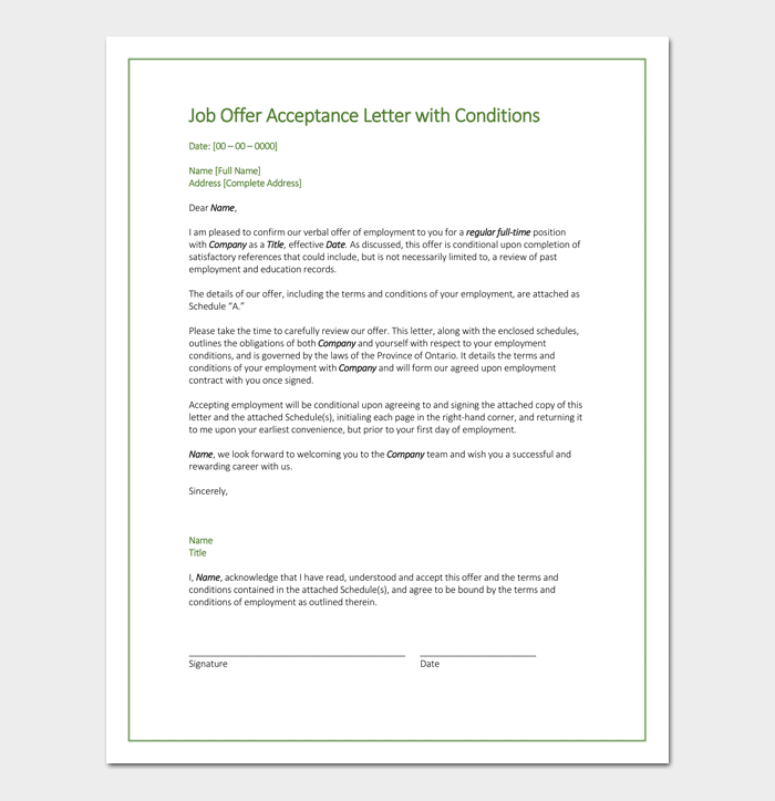 Sample Job Offer Acceptance Letter with Conditions