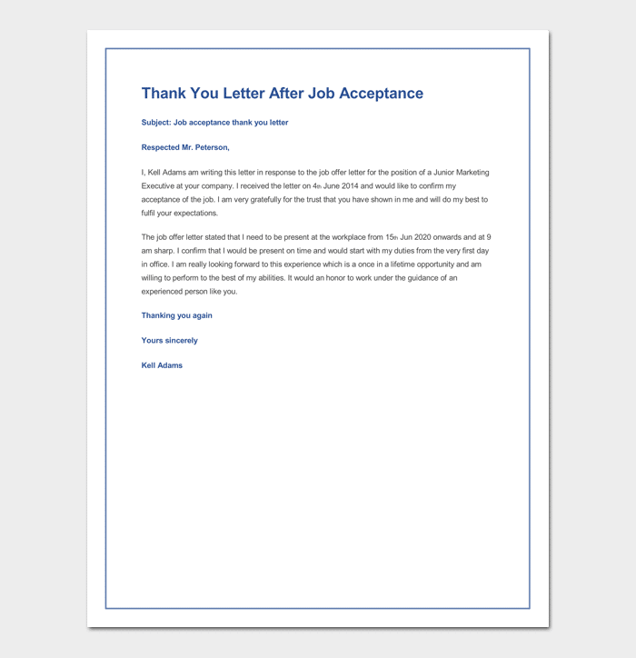 sample thank you letter after job acceptance