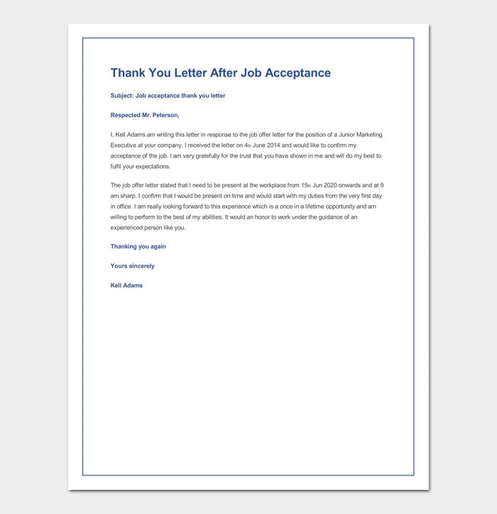 Sample Thank You Letter After Job Acceptance