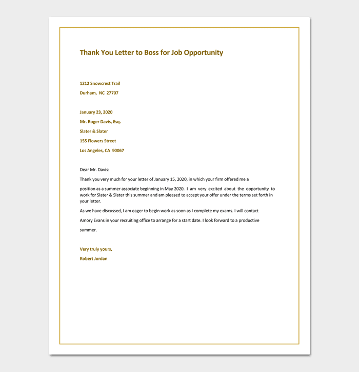 Sample Thank You Letter to Boss for Job Opportunity