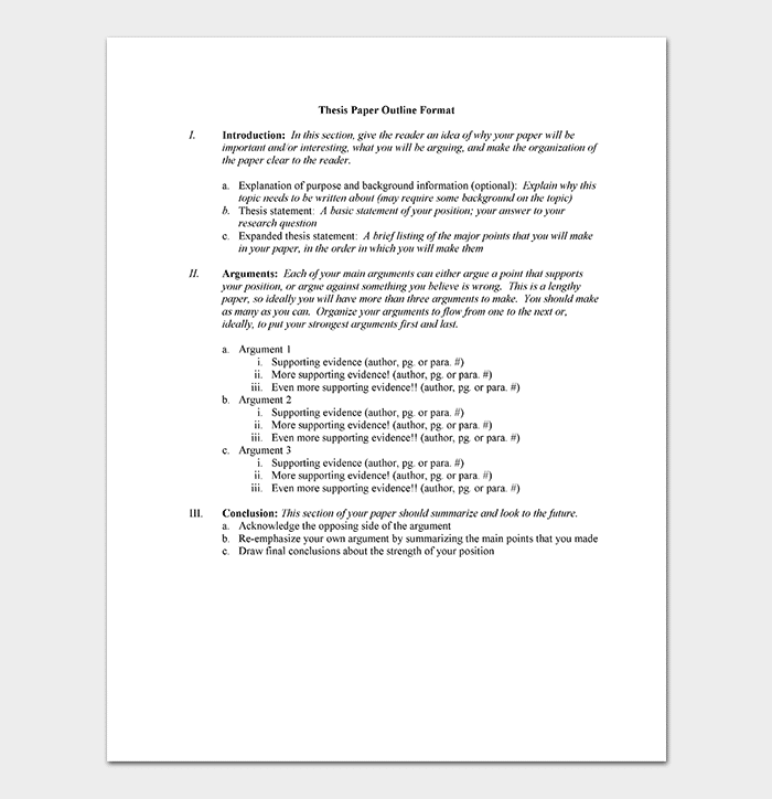 Thesis Outline Template - 11+ (Samples & Examples)