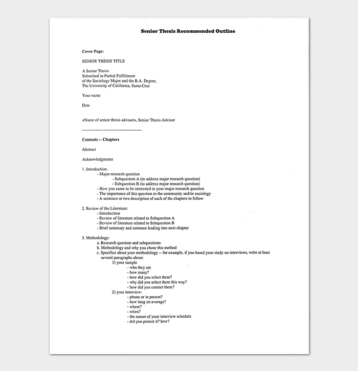 Senior Thesis Outline Template