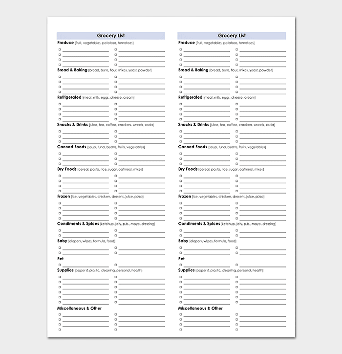 Shopping List Template Spreadsheet