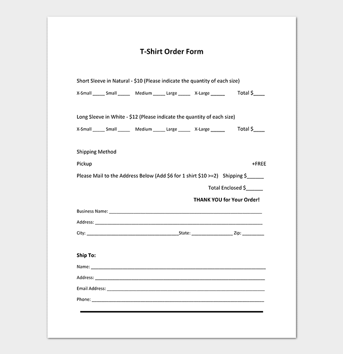Short Sleeve T Shirt Order Form Template