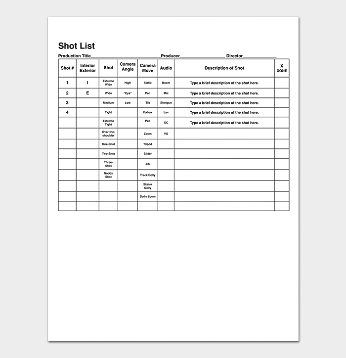 Simple Shot List Template