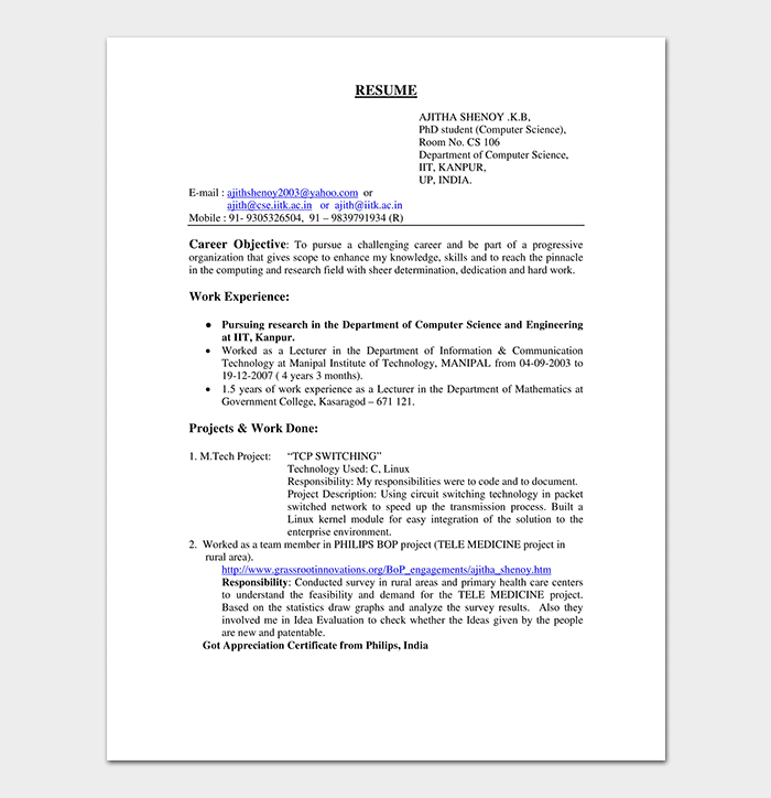 Software Engineer Resume Template for Fresher