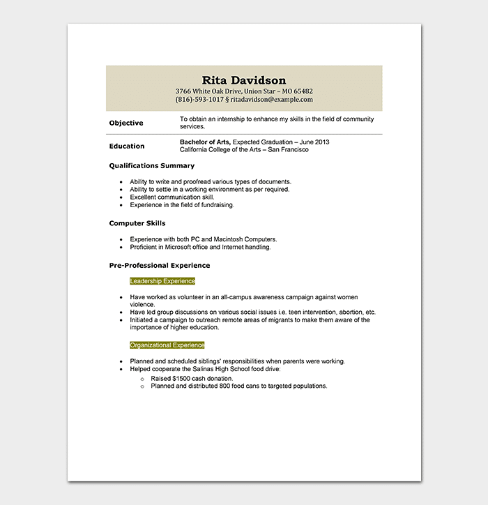 student internship resume - Student Internship Resume