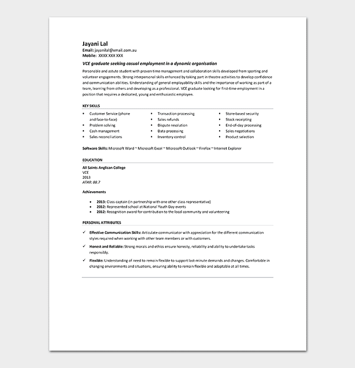 Student Resume Template 7 Samples Examples