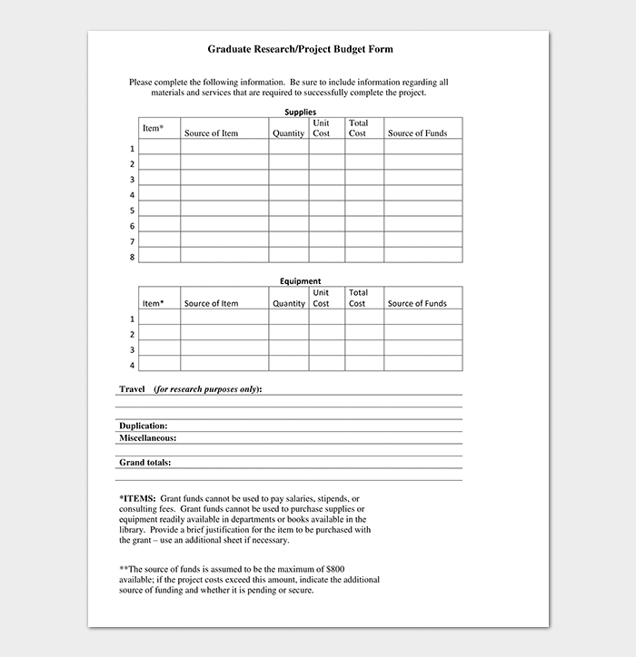 Supplies Research Budget Template