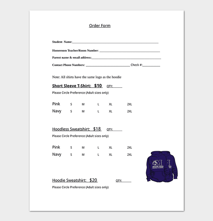 T Shirt Order Form Template Detailed