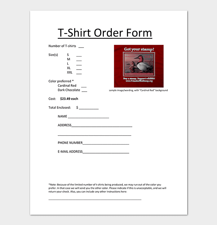 T Shirt Order Form Template in All Sizes
