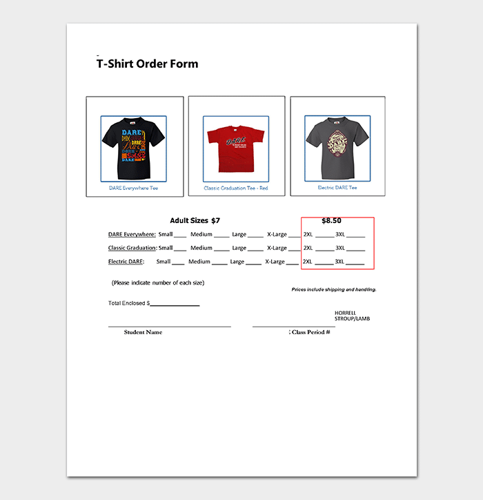 T Shirt Order Form in Word