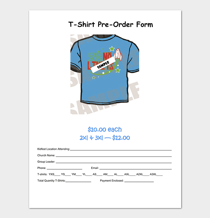 T-Shirt Order Form Template - 17+ (Word, Excel, PDF) on about me template, catalogue template, map template, recipe books template, faq template, company information template, terms and conditions template, newsletter template, posters template, ordering forms for gifts,
