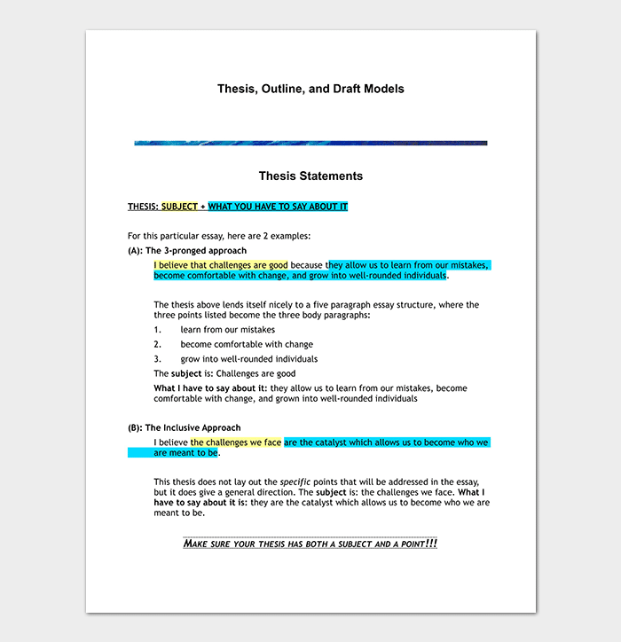 Thesis Essay Outline Template