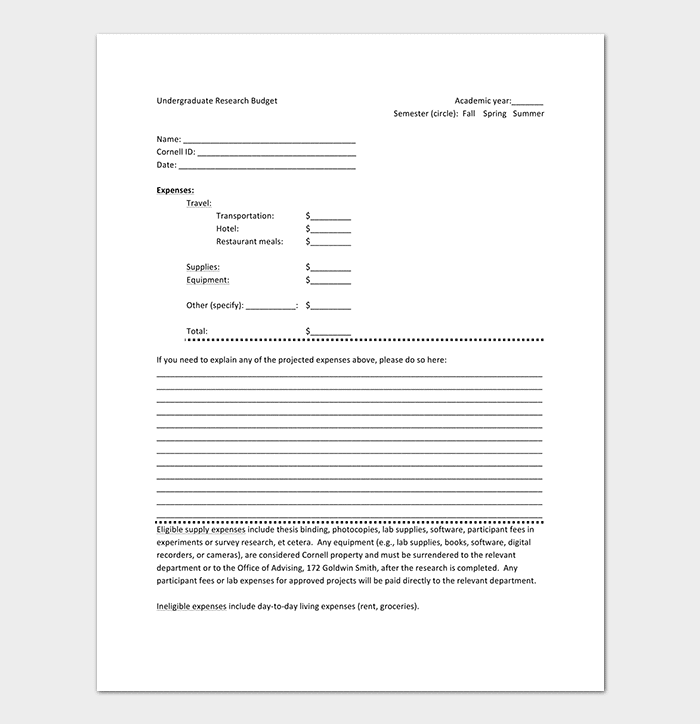 Undergraduate Research Budget Template
