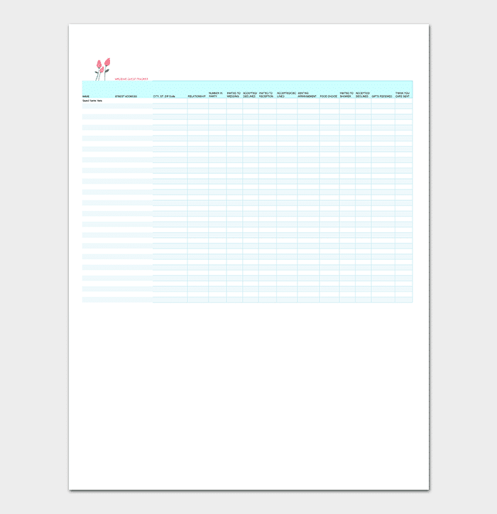 Wedding Guest List Template Sheet