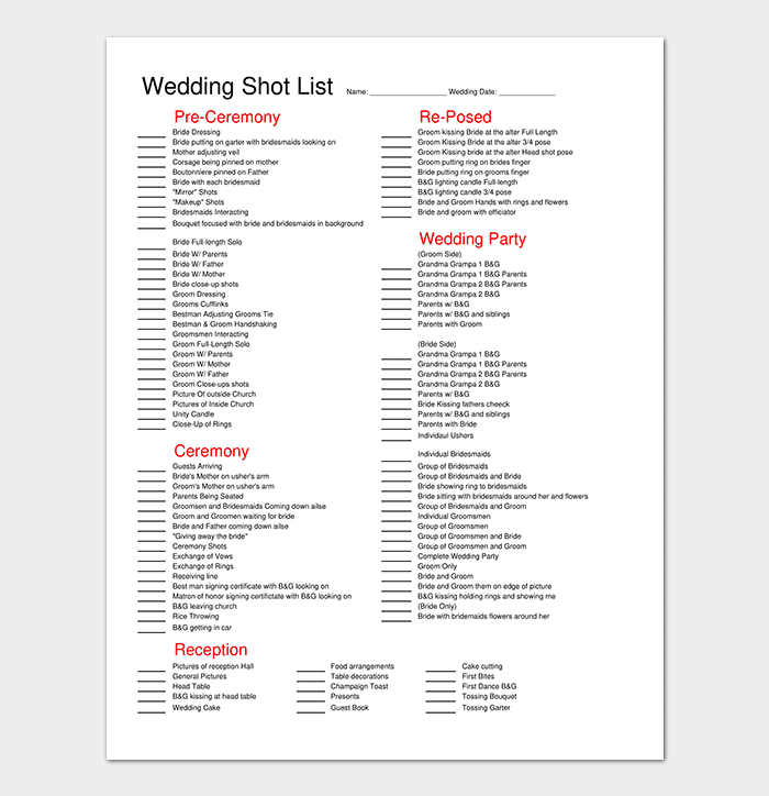 Wedding Shot List Template In Pdf