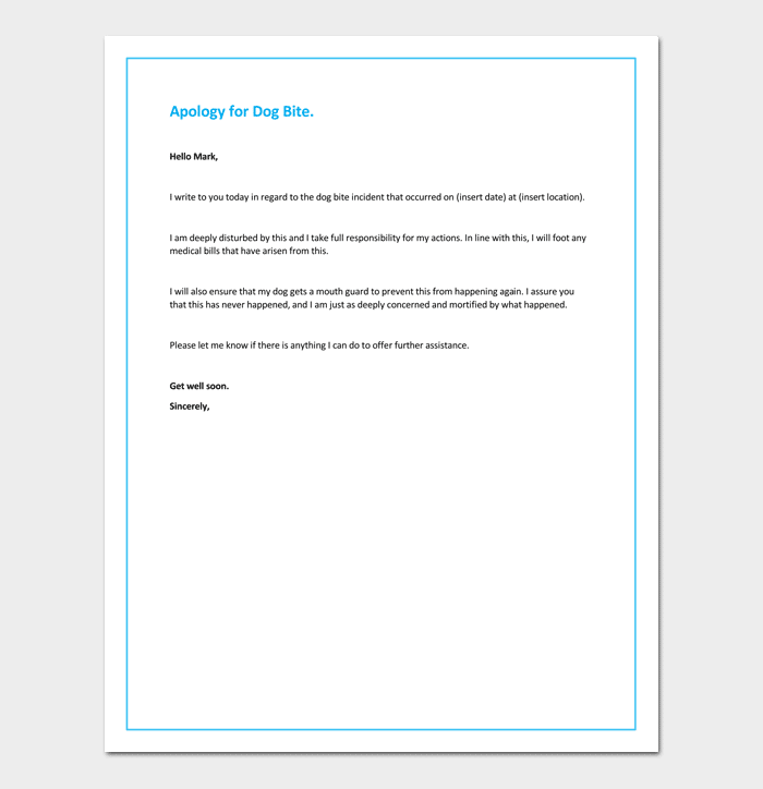 Apology Letter For Dogs Behavior Sample Letters