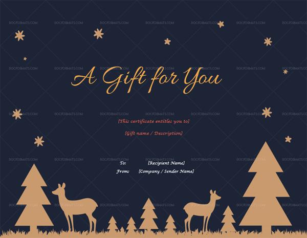 Editable Christmas Gift Certificate Template 1870 Royal