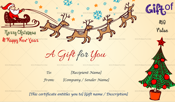 Editable Christmas Gift Certificate Template Flying Santa