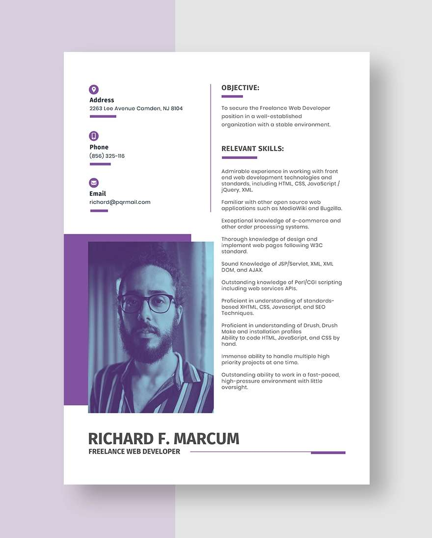 Freelance Web Developer Resume Template
