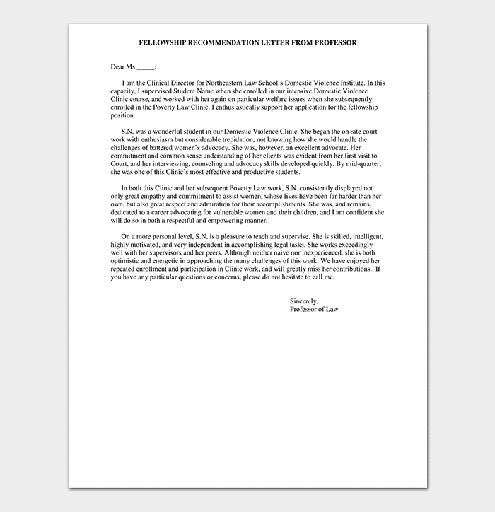 Academic Reference Letter Request Template