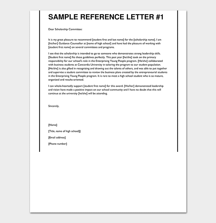 Letter Of Recommendation For College Scholarship from images.docformats.com