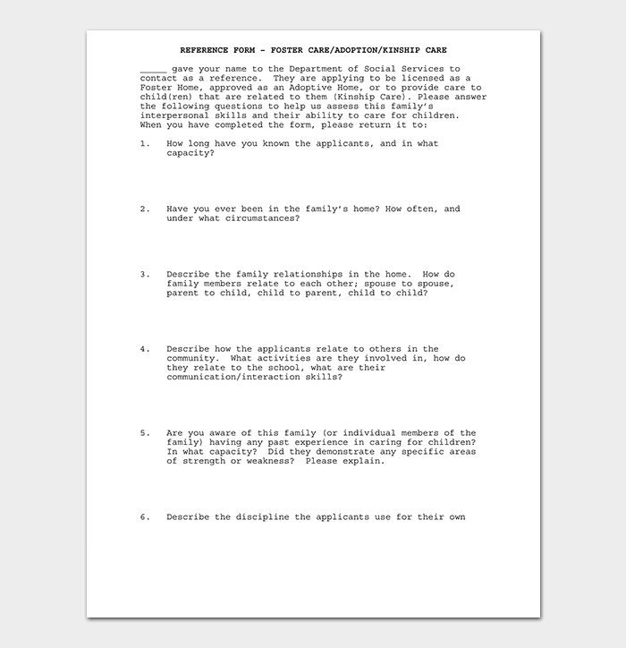 Adoption Reference Letter Format