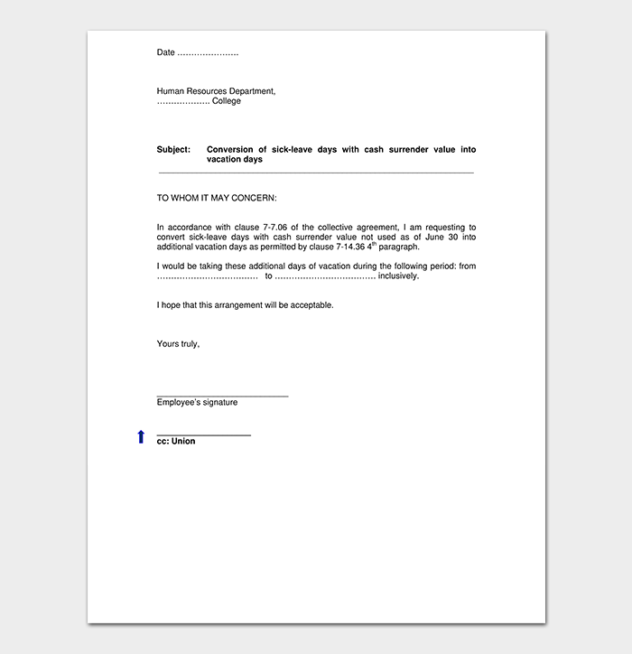 vacation leave letter vacation leave request letter how to write with format 25409 | Annual Vacation Request Letter