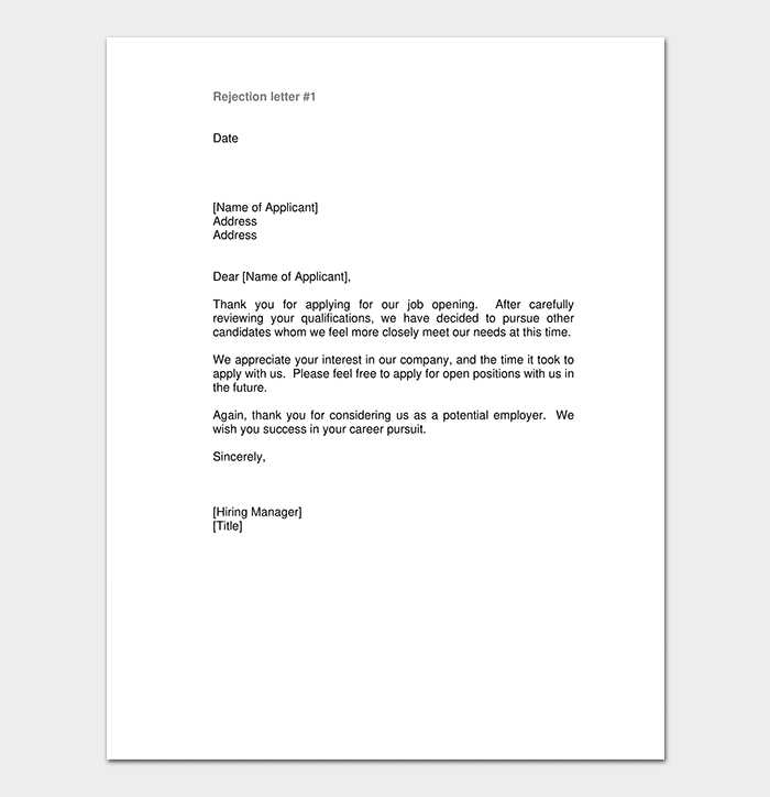 Application Rejection Thank You Letter